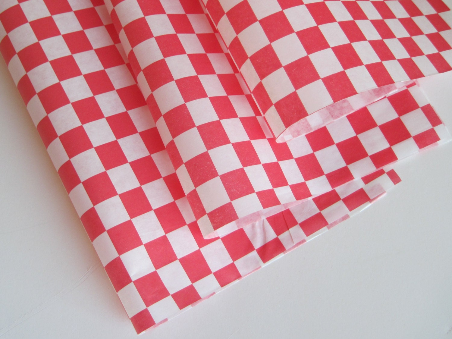 Checkered Wax Paper Wax Paper-50 Sheets of Red And