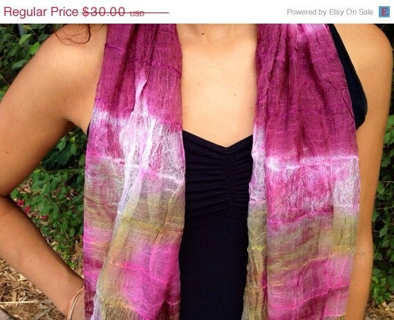 40% OFF SALE Tie Dye Scarf: Magenta Silk Scarf, Fall Scarf, Hand Dyed Scarf, Hippie Scarf, Comes in a Organza Gift Bag, Great Gift, Fashion