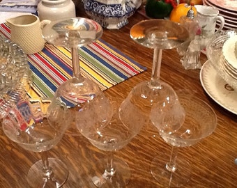 Vintage Etched Glass Wineglasses