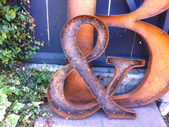Items similar to 36 rustic metal ampersand on etsy for Ampersand decoration etsy