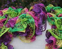 Multi Colored Ruffled Scarf - Sundance Tie-Dyed Frill Flower Power