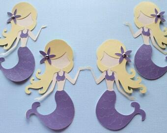 Mermaid Die Cuts - Set of 4 - Mermaid Decorations - Scrapbooking - Embellishments - Mermaid Party