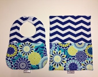 Royal Blue Chevron & flowers bib and burp set