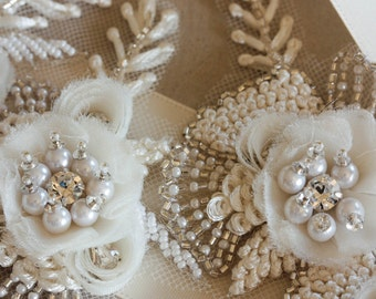 Vintage inspired wedding sash - Vintage flower 14 inches ( Made to Order)