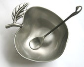 A Special Gift for Rosh Hashana! Vintage Rosh Hashanah Honey Dish, Pewter Apple Shape Bowl, Judaica Art - On Sale!