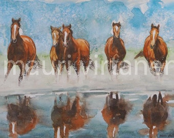 """Original watercolor painting, """"Brown horses running over water"""", 14"""" x 19"""", fine art horse painting"""