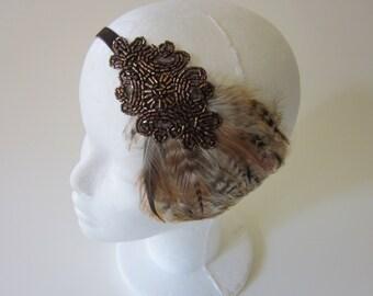Bronze headpiece, robe charleston, feather headband, 1920s fascinator, Annees 20 great gatsby headband, flapper headpiece, copper dress,