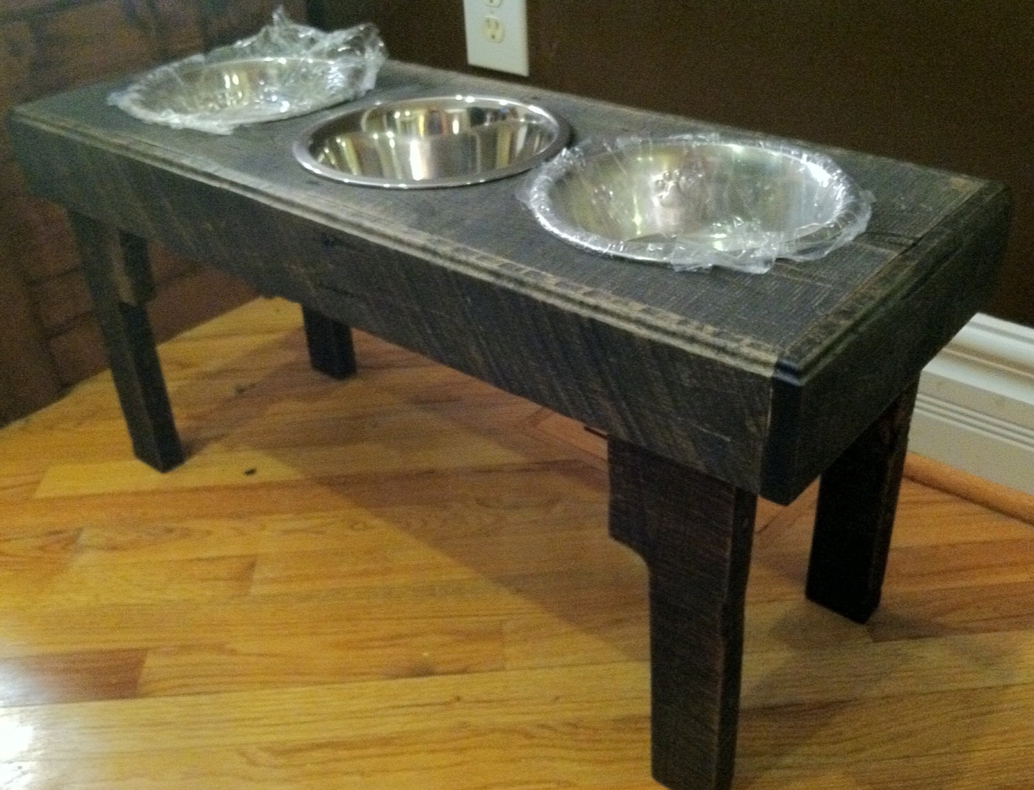 Rustic dog bowl stand made from recycled pallets 15 tall - photo#24