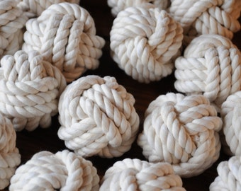 Nautical Event Knots - Rope Knots - Smaller Table Holder Knots - Nautical Decor -  Cotton Rope Knots - (2.75 inches) - (this is for 50)