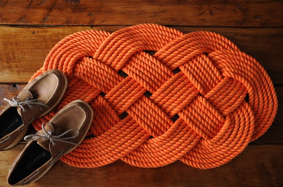 Items similar to rope rug bath mat nautical decor for Rope bath mat
