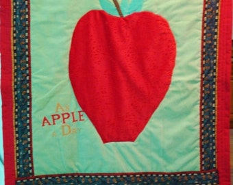 An Apple a Day - Hand Sewn/Hand Quilted Wall Hanging
