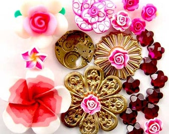 Steampunk Watch Part, Fimo Flower, Filigree, Glass, Enchanted Flower Garden Bead Set 16944