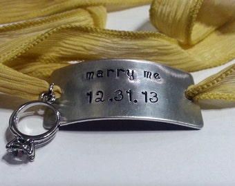 Custom Silk Wrap Bracelet - Hand Stamped - Personalized - Hand Dyed Silk Ribbon - Marry Me
