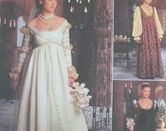 Renaissance Dress Costume Simplicity 8735 Sizes 10 12 14 Uncut Out of Print OOP