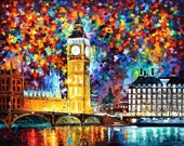 """Painting — Big Ben, London — PALETTE KNIFE Contemporary Wall Art Oil Painting On Canvas By L Afremov - Size: 40"""" x 30"""" (100 cm x 75 cm) 2145"""
