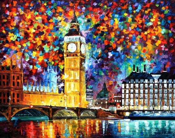 "Big Ben, London — PALETTE KNIFE(4) Oil Painting On Canvas By Leonid Afremov - Size: 30"" x 40"" (75cm x 100cm)"