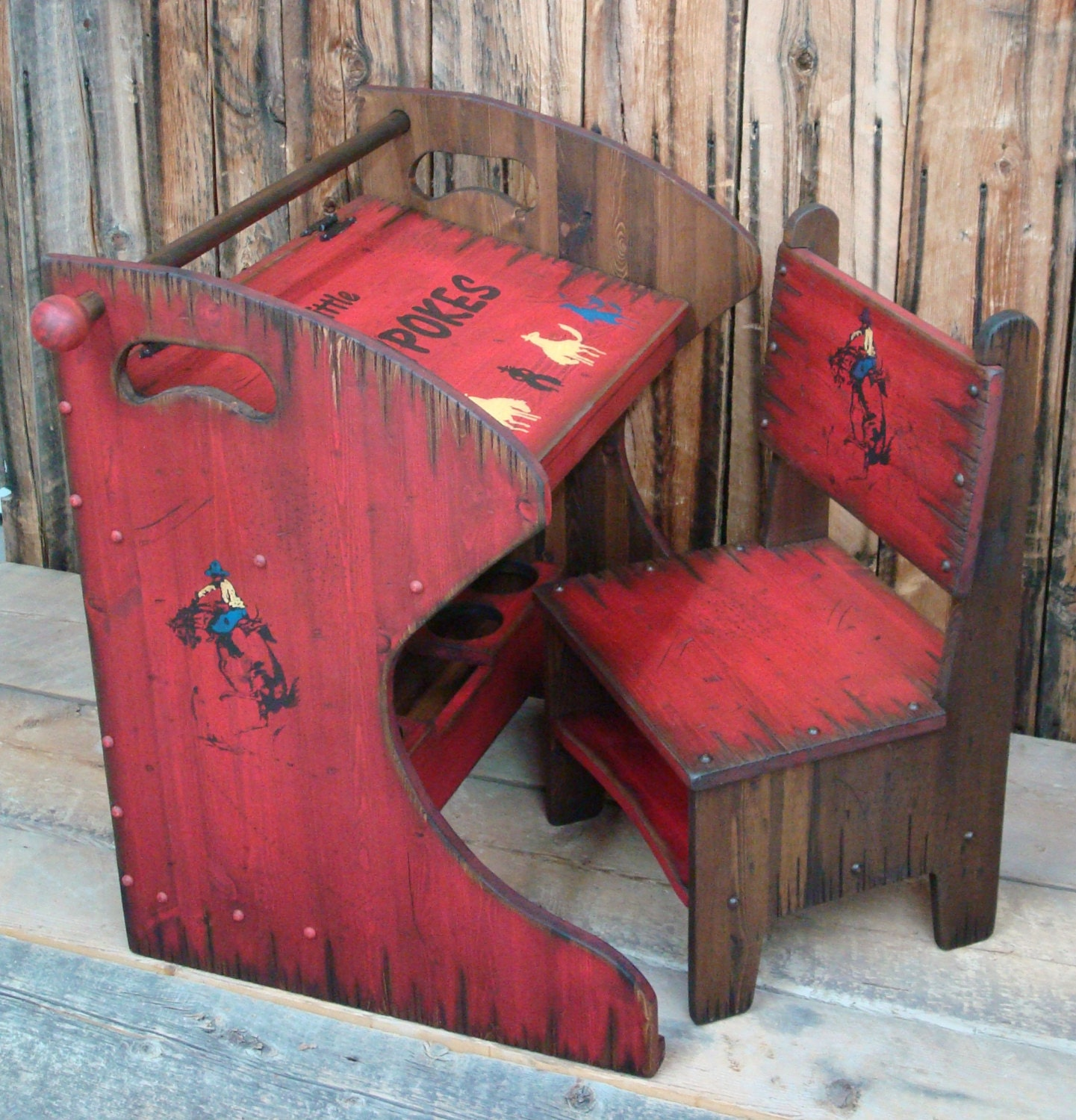 Rustic western wood kid 39 s desk and chair kid 39 s desk Wooden childrens furniture