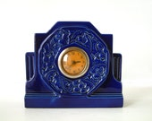 Beautiful French Art Deco mantle piece clock signed Digoin Sarreguemines in cobalt blue. Skyscraper style. Good working order
