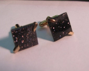 Vintage Swank Gold Tone Cufflinks with Black  and Gold Flecked Stone