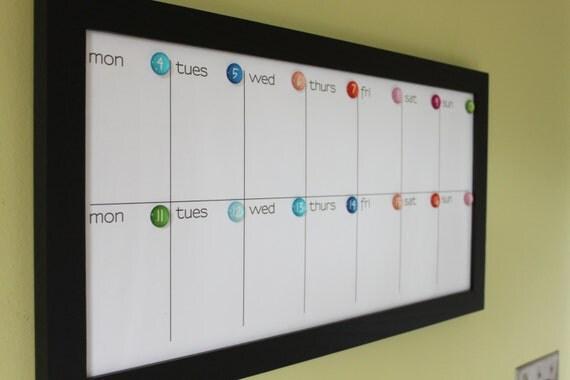 Dry Erase Calendar Magnetic : Magnetic dry erase custom framed calendar weeks