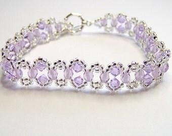 Violet and silver swarovski bracelet - violet bracelet - swarovski bridal bracelet - wedding bracelet - bridesmaid bracelet BR001