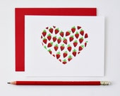 Chocolate Covered Strawberries Heart Card - Valentine's Day, Anniversary, Wedding // Inside: I <3 You // Charitable Donation