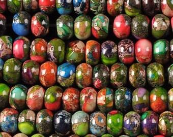 "0209 6mm Multi-color sea sediment jasper pyrite rondelle loose gemstone beads 16"""