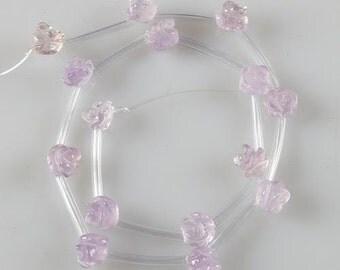0235 8mm carved amethyst flower loose gemstone beads 15pcs