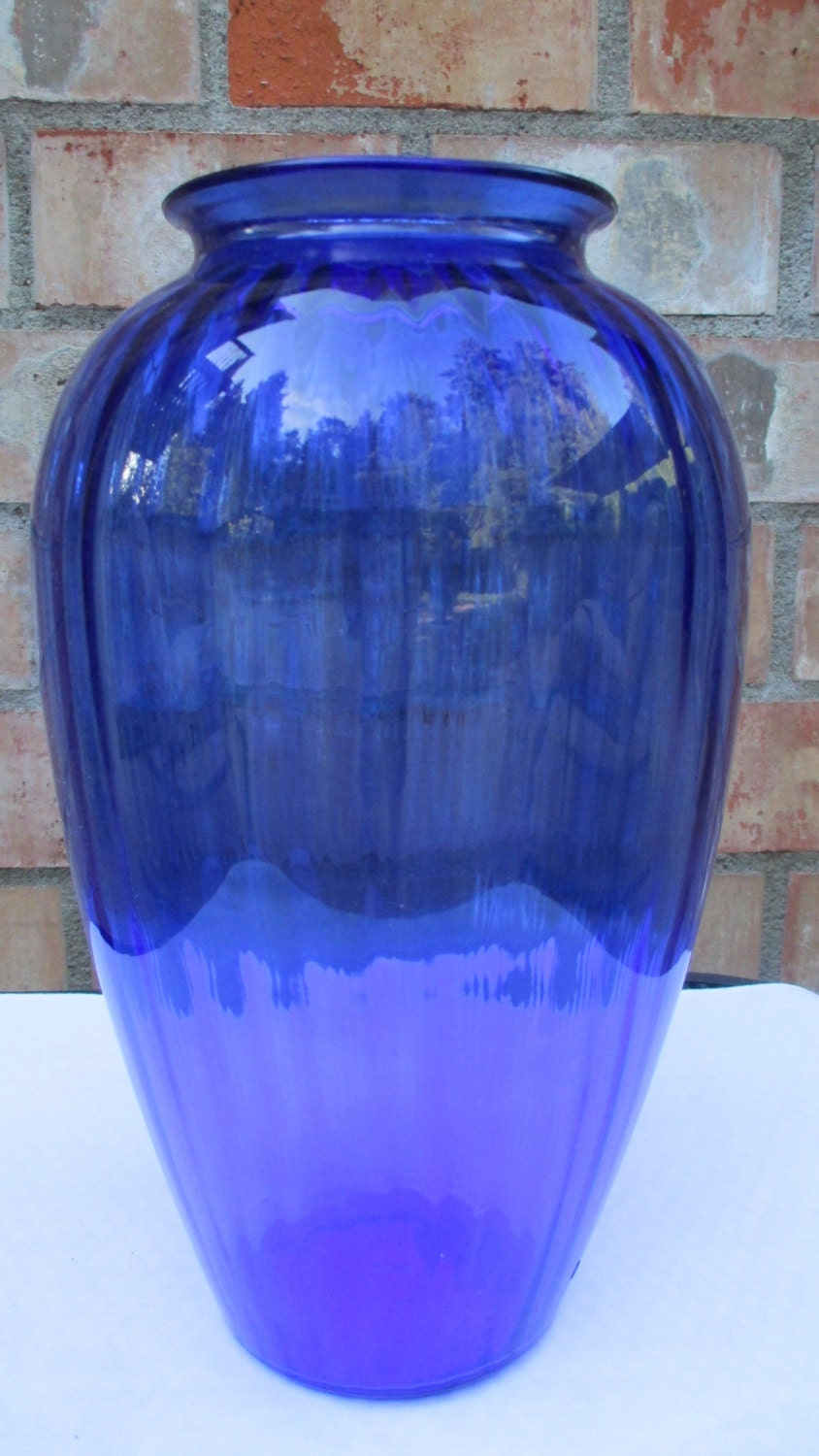 Ex Large Anchor Hocking Cobalt Blue Vase 12 5 8