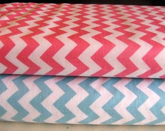 Riley Blake Fabric Duo 1 Yard Each Small Aqua Chevron Small Hot Pink Chevron Cotton Fabric