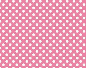 Hot Pink Small Dots 1 1/2 Yards Riley Blake Polka Dots Cotton Fabric By The Yard
