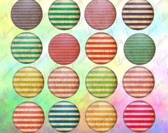 Image digitale pour cabochon rond, Rayure vintage, rayure rétro, capsule, fourniture, clipart,pendentif, cabochon verre, cabochon epoxy