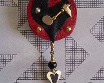 Leather Brooch...Music to my Torn Heart... in recycled leather.