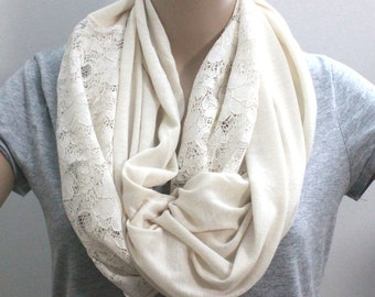 Clearance SALE Ivory White Lace Scarf Lace Colorblock Scarf Super Soft Two Tone Scarf with Lace Cotton Spring Scarf with Abundant Lace Edges