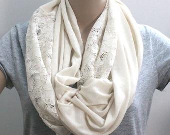 Ivory White Lace Scarf rf with Abundant Lace Edges