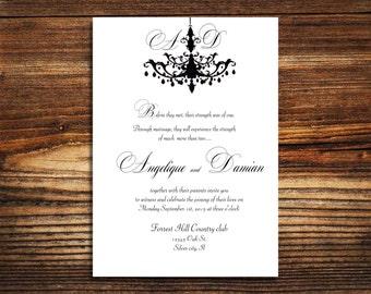 150 wedding invitations Chandelier  wedding invite