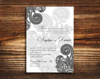 Hena Indian wedding invitations, black and white invites