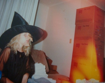 Vintage Halloween Snapshot Witch Photo Silly Nose Scrapbooking