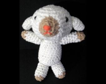 Handmade Amigurumi Lavender Lamb, filled with organic lavender in belly for a subtle relaxing smell
