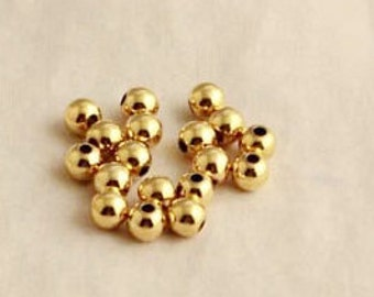 Spacer Beads -50pcs 14k Gold-plated Round Ornate Beads Jewelry Findings 4mm