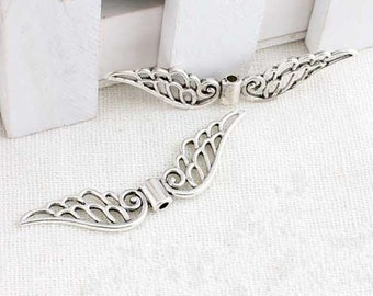 10pcs of Wings Antique  Silver  Large Wings Charm Pendants 50mm Angel wings hollowed-out