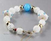 Bracelet - Authentic Venetian Murano Glass - 14 Karat Gold Filled Beads - Modern, Eye-catcher, Fun to Wear, OOAK Jewelry