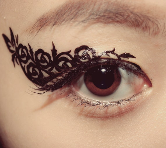 1 pair eye temporary tattoo makeup eyeshadow black butterfly