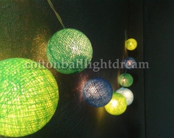 20 blue sky and green cotton balls string lights  for holiday party  decoration lantern garden