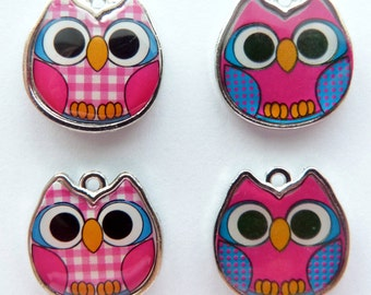 What a Hoot Pink and Blue Owl Charms Set of 4  Mini Pendant Trendy Jewelry Supplies DIY Supply 19mm