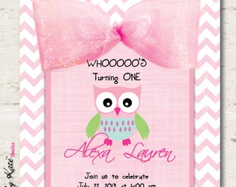 Owl Birthday Party Invitation Girl