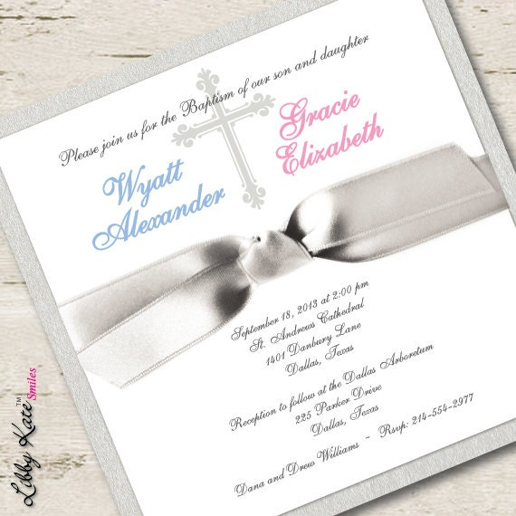 Twin Baptism Invitations can inspire you to create best invitation template