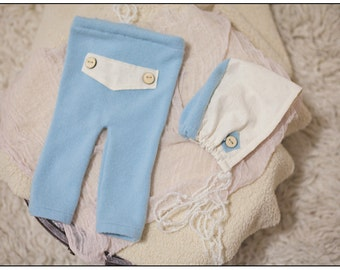 Newborn Baby Boy Upcycled Pants and Bonnet Photography Prop