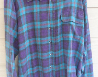 Vintage Men's button down long sleeve shirt checks Spring Single needle tailoring SZ L