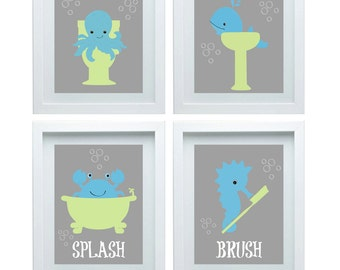 Kids Art Kids Bathroom Art Kids Animal Art Bathroom Decor Set Of 4 8x10 Kids